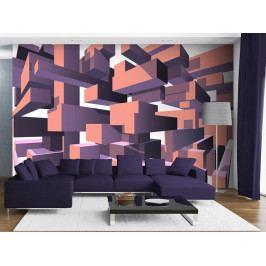 Murando DeLuxe 3D tapeta - Konstrukce fialová 150x105 cm