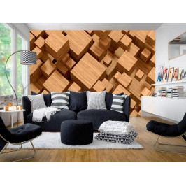 Murando DeLuxe 3D tapeta - Dřevěná skládanka II. 150x105 cm