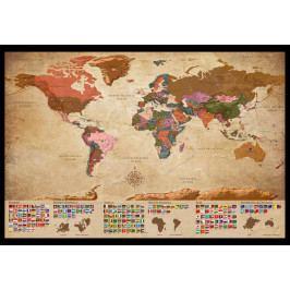 Murando DeLuxe Mapa na korkové tabuli - retro mapa s vlajkami 90x60 cm