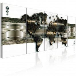 Murando DeLuxe Vícedílná mapa - zlatá mapa 150x60 cm