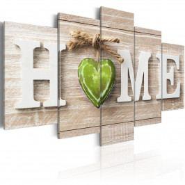 Murando DeLuxe Pětidílné obrazy - zelené srdce 200x100 cm