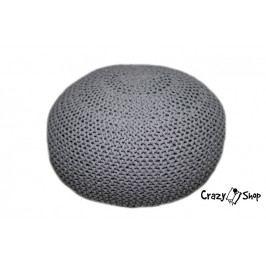CrazyShop Pletený puf Crazyshop EXTRA, šedá (ručně pletený)