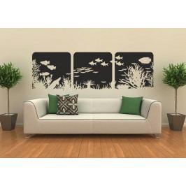 3 dílné akvarium (98 x 20 cm) -  Samolepka na zeď