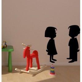 Chlapeček s holčičkou (Výška postav: 50 cm) -  Samolepka na stěnu