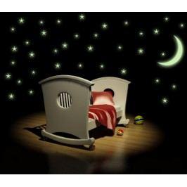 SVÍTICÍ hvězdy s měsícem - Samolepka na stěnu