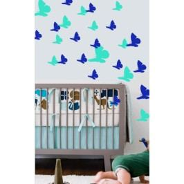 Motýlí hejno 64 kusů - Samolepka na zeď