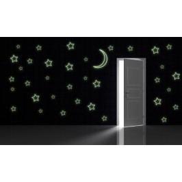 SVÍTICÍ obrysy hvězd a měsíce - Samolepka na zeď