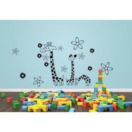 3 žirafy + květy - Samolepka na zeď