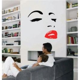 Obličej ženy (101 x 97 cm) -  Samolepka na zeď