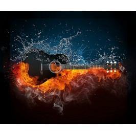 Ohnivá kytara (60 x 50 cm) -  Plakát na zeď