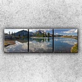 Jezerní zrdcadlo (75 x 25 cm) -  Třídílný obraz