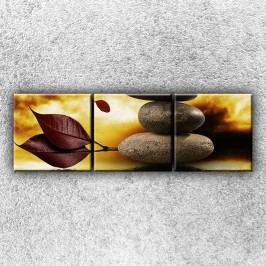Lístečky a kameny (75 x 25 cm) -  Třídílný obraz