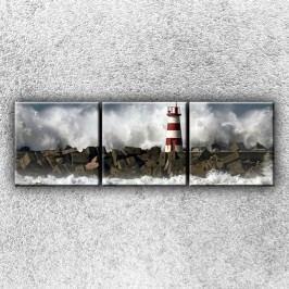 Maják v bouři 1 (75 x 25 cm) -  Třídílný obraz