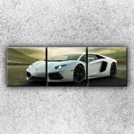 Stříbrné Lamborghini 2 (75 x 25 cm) -  Třídílný obraz