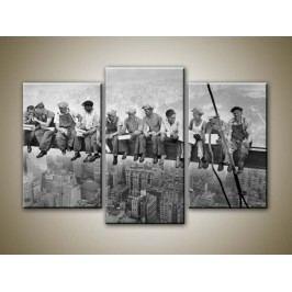 Delníci na traverze (75 x 50 cm) -  Třídílný obraz