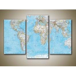 Mapa světa 2 (75 x 50 cm) -  Třídílný obraz