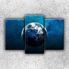 Modrá zeměkoule 1 (75 x 50 cm) -  Třídílný obraz
