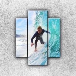 Surfař na vlně (70 x 55 cm) -  Třídílný obraz