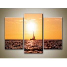 Západ slunce nad jachtou 3 (75 x 50 cm) -  Třídílný obraz