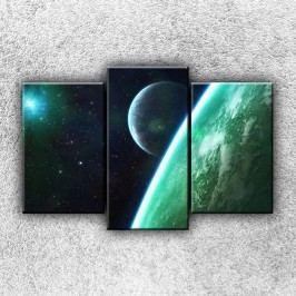Zelená Zeměkoule (75 x 50 cm) -  Třídílný obraz