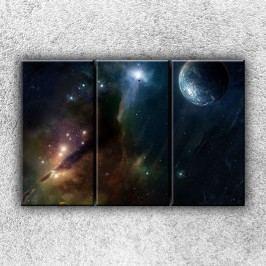 Zeměkoule s mlhovinou (90 x 60 cm) -  Třídílný obraz