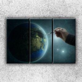 Zeměkoule s tužkou 4 (120 x 80 cm) -  Třídílný obraz