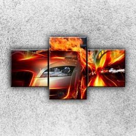 Auto v plamenech 2 (90 x 50 cm) -  Třídílný obraz