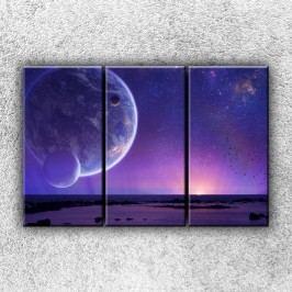 Fialová planeta (120 x 80 cm) -  Třídílný obraz