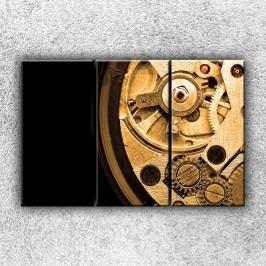 Hodinový strojek 3 (120 x 80 cm) -  Třídílný obraz