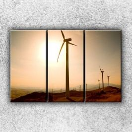Větrné elektrárny při západu (120 x 80 cm) -  Třídílný obraz