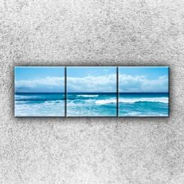 Azurové vlny (120 x 40 cm) -  Třídílný obraz