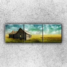 Chýše v poli 2 (120 x 40 cm) -  Třídílný obraz