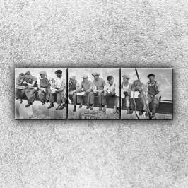 Dělníci na traverze 2 (120 x 40 cm) -  Třídílný obraz