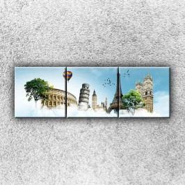 Koláž velkoměst 2 (120 x 40 cm) -  Třídílný obraz