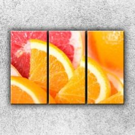 Nakrájené pomeranče (130 x 80 cm) -  Třídílný obraz