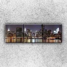 Odraz nočního města 2 (120 x 40 cm) -  Třídílný obraz
