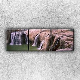 Skalnaté vodopády 1 (120 x 40 cm) -  Třídílný obraz