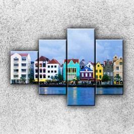 Barevné domky (100 x 70 cm) -  Čtyřdílný obraz