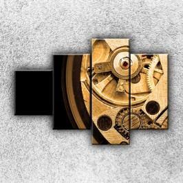 Hodinový strojek 4 (100 x 70 cm) -  Čtyřdílný obraz