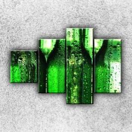 Orosené láhve (100 x 70 cm) -  Čtyřdílný obraz