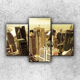 Mrakodrapy sépie 1 (105 x 70 cm) -  Třídílný obraz