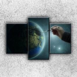 Zeměkoule s tužkou 3 (105 x 70 cm) -  Třídílný obraz