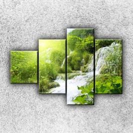 Lesní vodopád 2 (100 x 70 cm) -  Čtyřdílný obraz