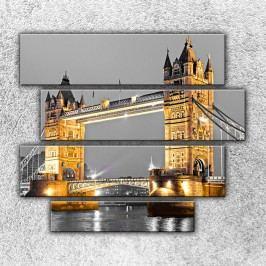 Osvětlený Tower Bridge 2 (110 x 90 cm) -  Čtyřdílný obraz