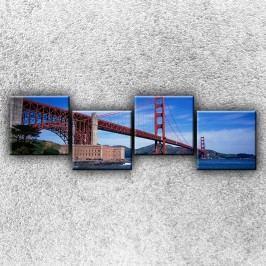 Golden Gate Brodge zespodu 4 (160 x 50) -  Čtyřdílný obraz