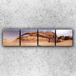 Skála v poušti (160 x 40 cm) -  Čtyřdílný obraz