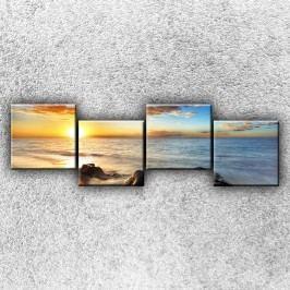 Útesy při západu slunce 2 (160 x 50 cm) -  Čtyřdílný obraz