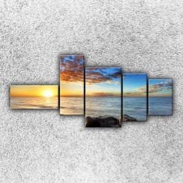 Útesy při západu slunce 4 (130 x 60 cm) -  Pětidílný obraz