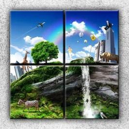 Xdecor Koláž světa 3 (100 x 100 cm) -  Čtyřdílný obraz