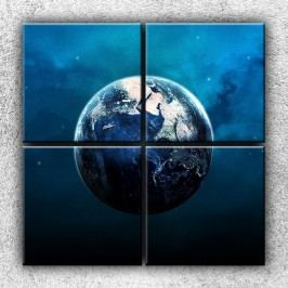 Xdecor Modrá zeměkoule 2 (100 x 100 cm) -  Čtyřdílný obraz